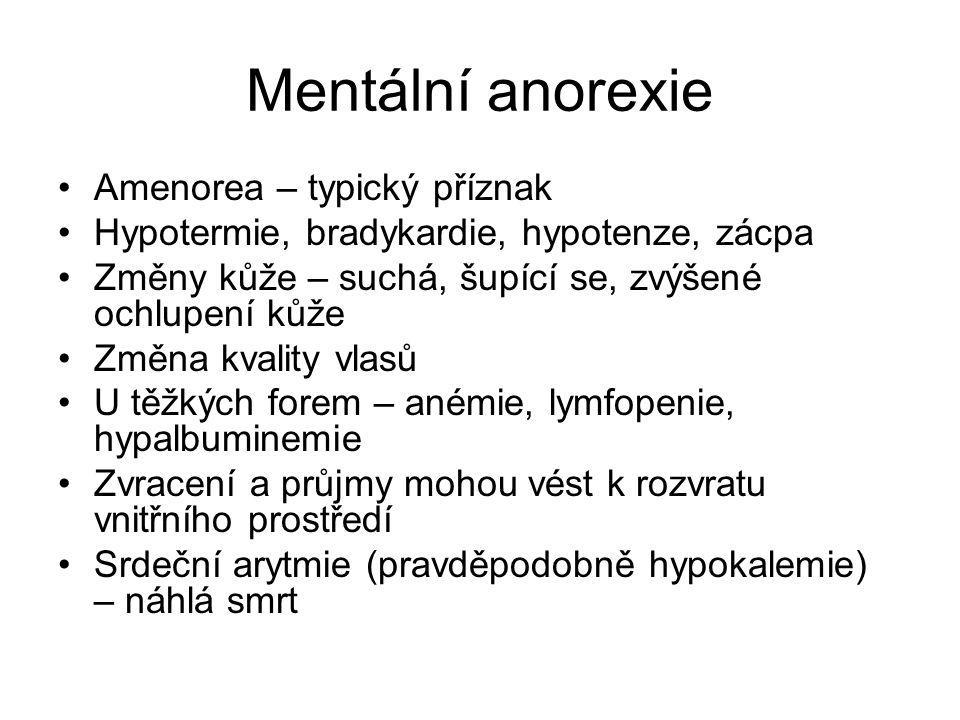 Mentální anorexie Amenorea – typický příznak