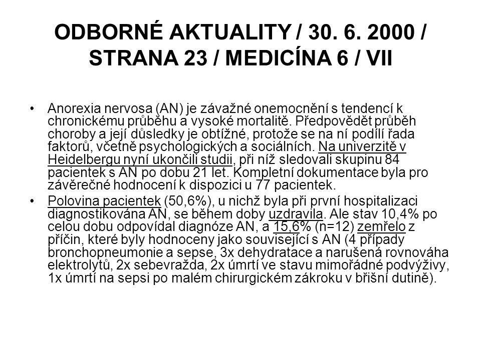ODBORNÉ AKTUALITY / 30. 6. 2000 / STRANA 23 / MEDICÍNA 6 / VII