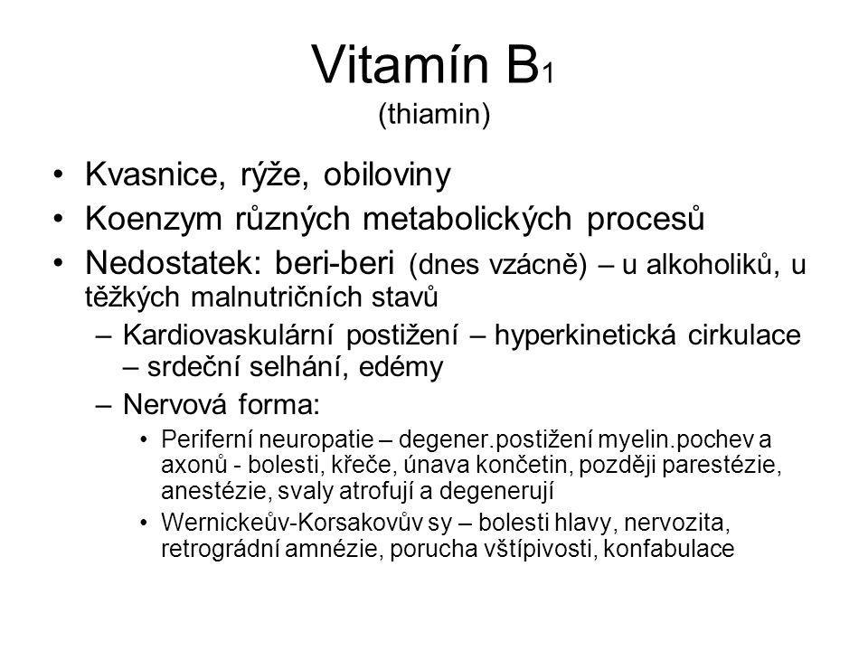 Vitamín B1 (thiamin) Kvasnice, rýže, obiloviny