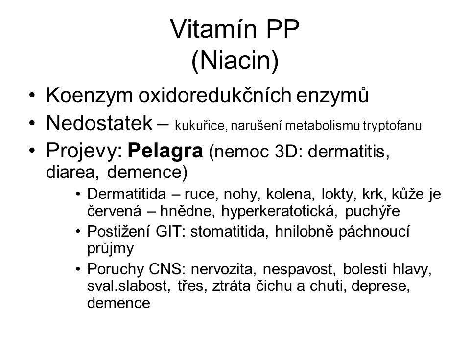 Vitamín PP (Niacin) Koenzym oxidoredukčních enzymů