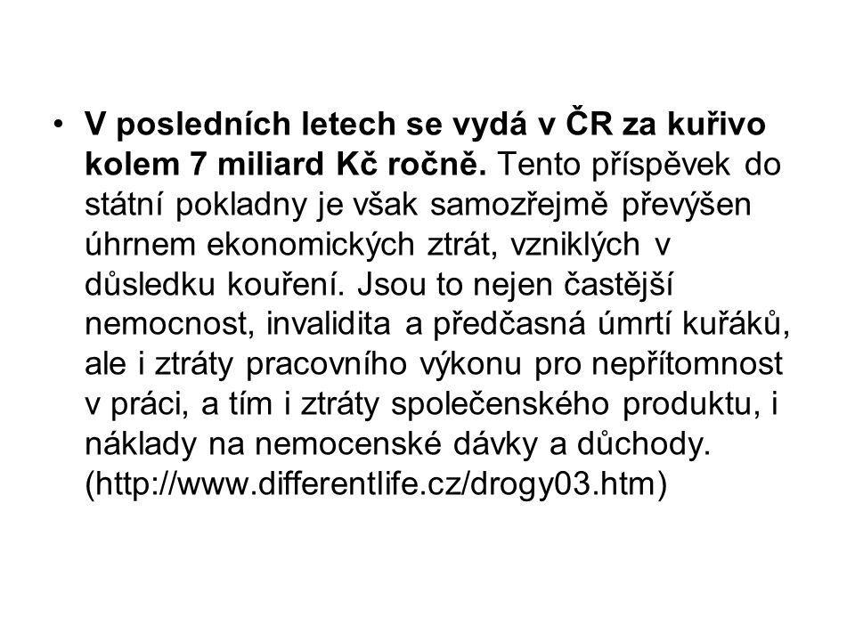 V posledních letech se vydá v ČR za kuřivo kolem 7 miliard Kč ročně