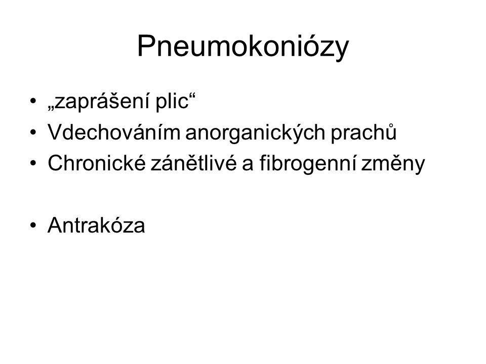 """Pneumokoniózy """"zaprášení plic Vdechováním anorganických prachů"""