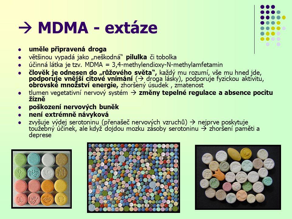  MDMA - extáze uměle připravená droga