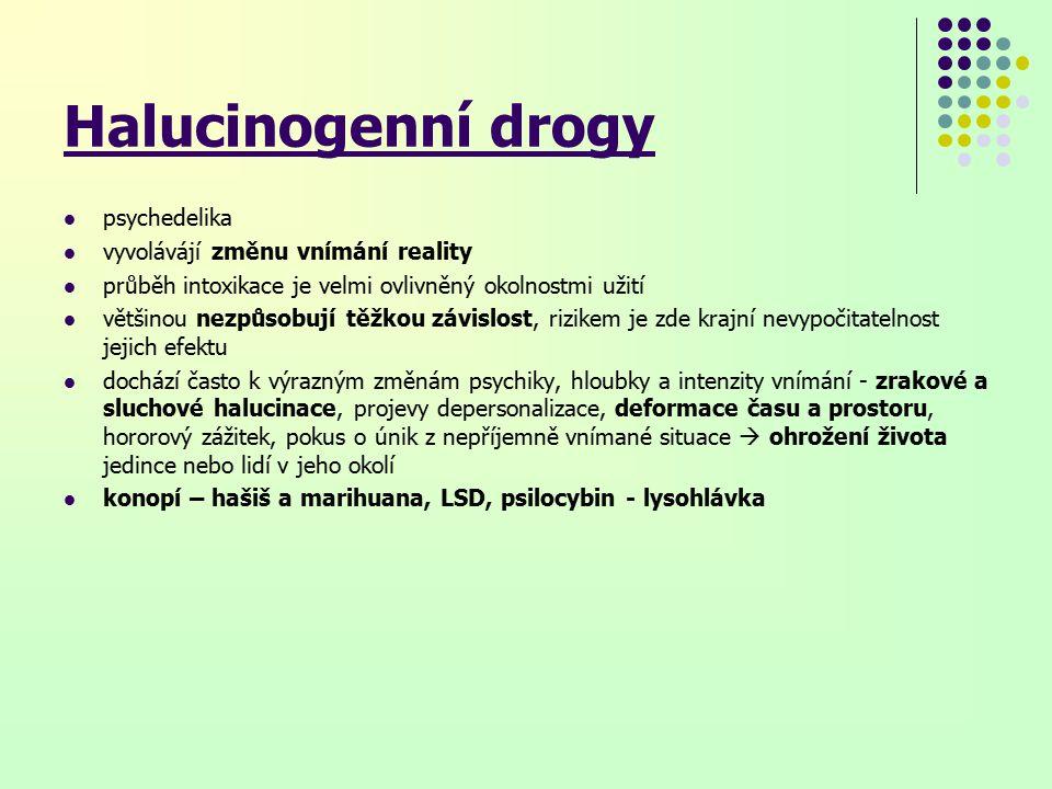Halucinogenní drogy psychedelika vyvolávájí změnu vnímání reality