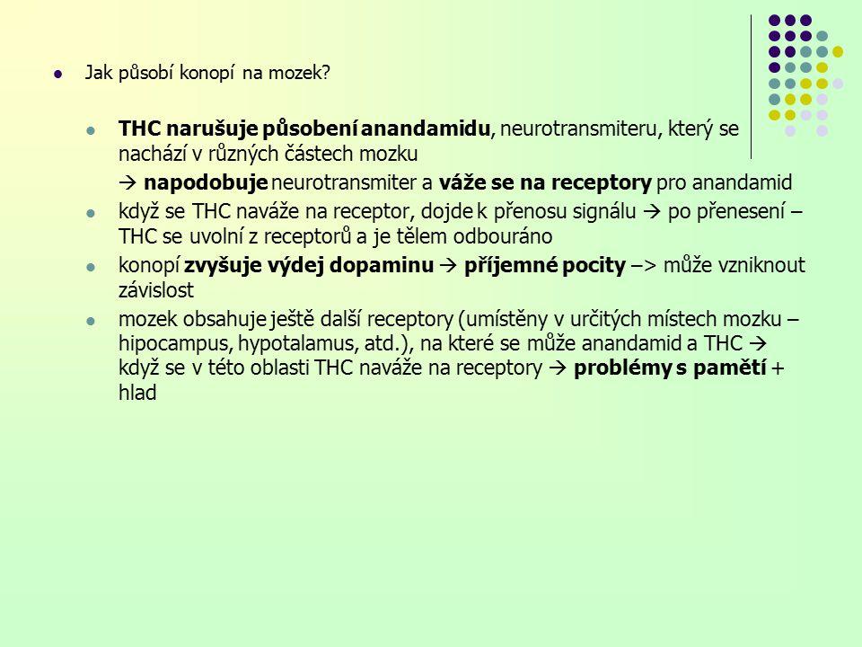  napodobuje neurotransmiter a váže se na receptory pro anandamid