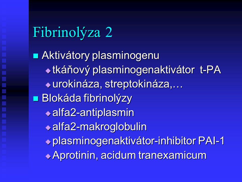 Fibrinolýza 2 Aktivátory plasminogenu