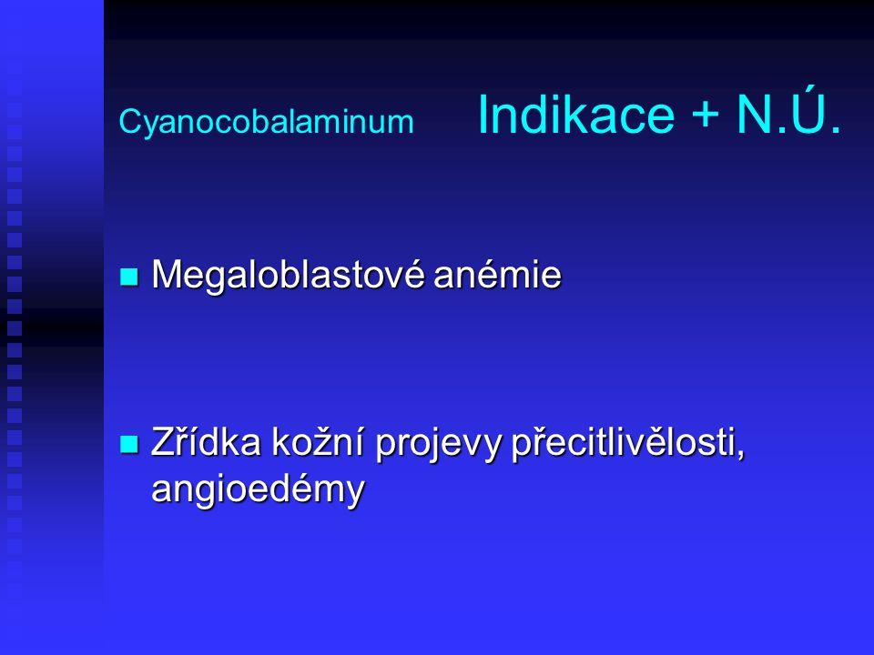 Cyanocobalaminum Indikace + N.Ú.