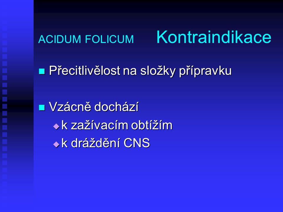 ACIDUM FOLICUM Kontraindikace
