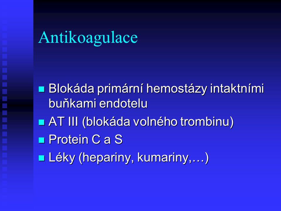 Antikoagulace Blokáda primární hemostázy intaktními buňkami endotelu