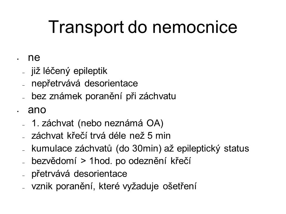 Transport do nemocnice