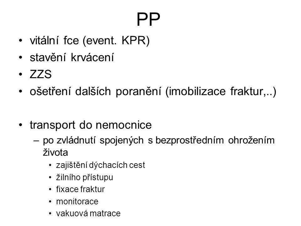 PP vitální fce (event. KPR) stavění krvácení ZZS