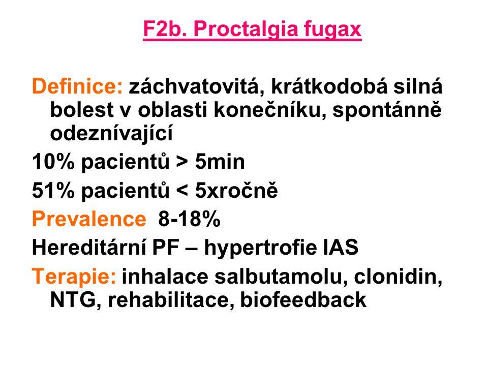 F2b. Proctalgia fugax Definice: záchvatovitá, krátkodobá silná bolest v oblasti konečníku, spontánně odeznívající.