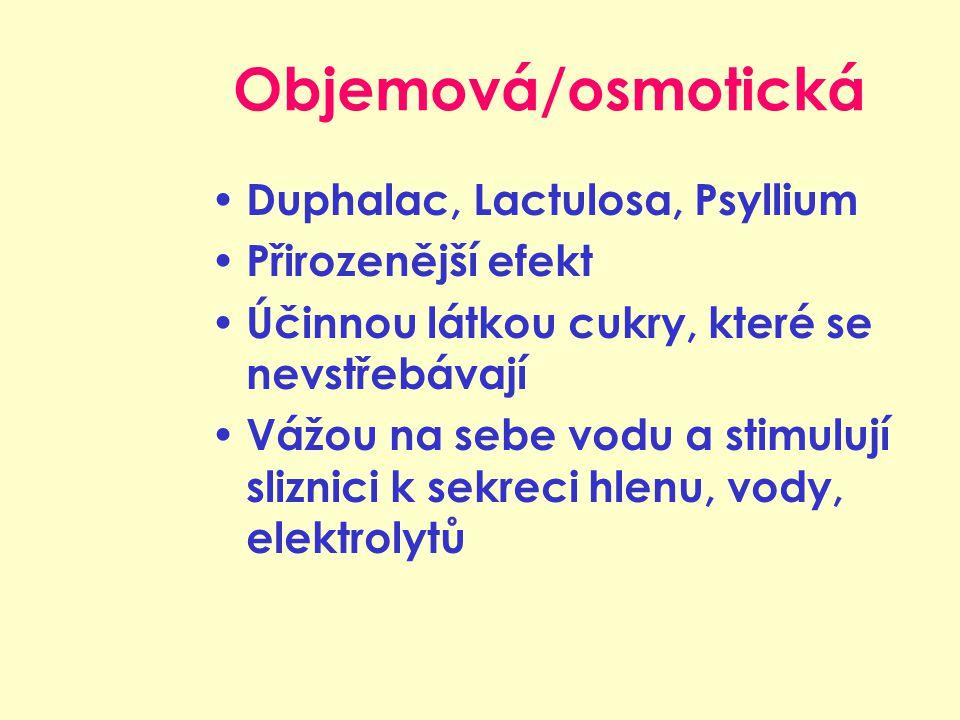 Objemová/osmotická Duphalac, Lactulosa, Psyllium Přirozenější efekt