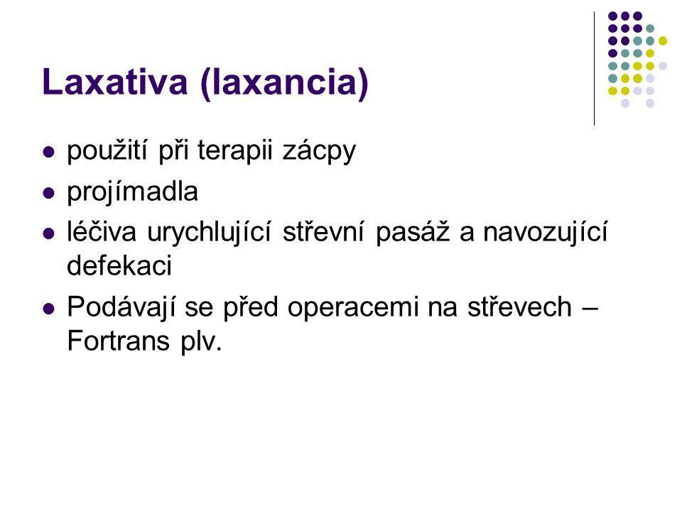 Laxativa (laxancia) použití při terapii zácpy projímadla