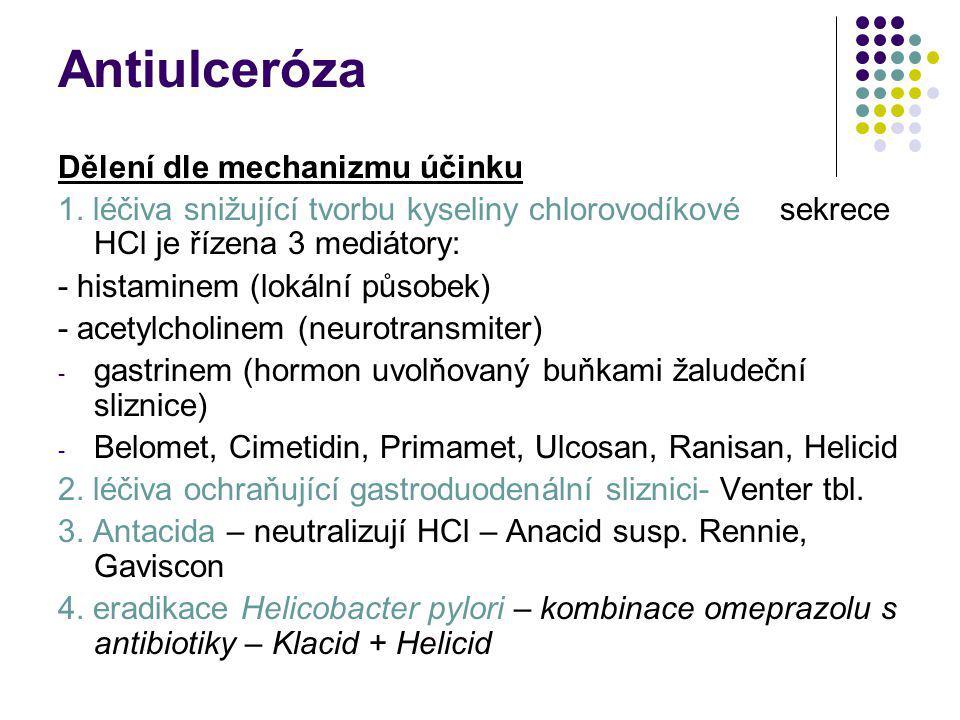 Antiulceróza Dělení dle mechanizmu účinku