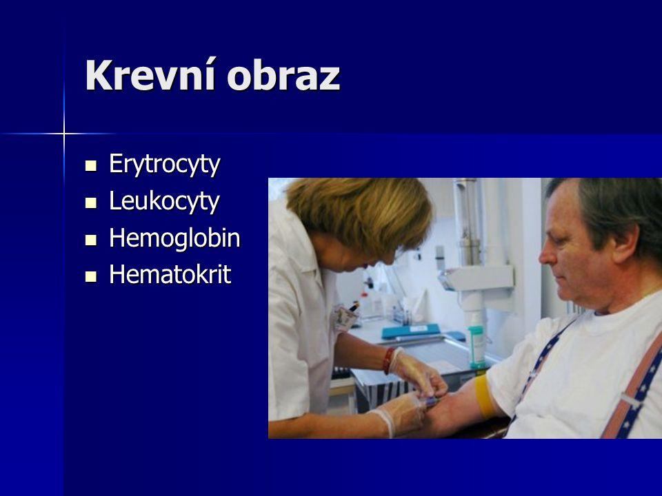 Krevní obraz Erytrocyty Leukocyty Hemoglobin Hematokrit