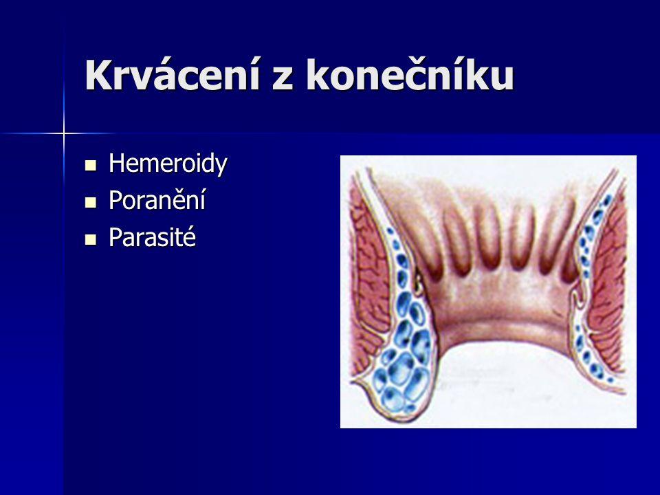 Krvácení z konečníku Hemeroidy Poranění Parasité