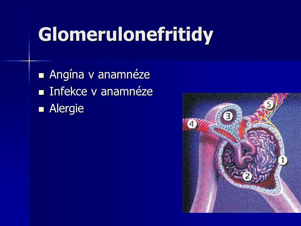 Glomerulonefritidy Angína v anamnéze Infekce v anamnéze Alergie