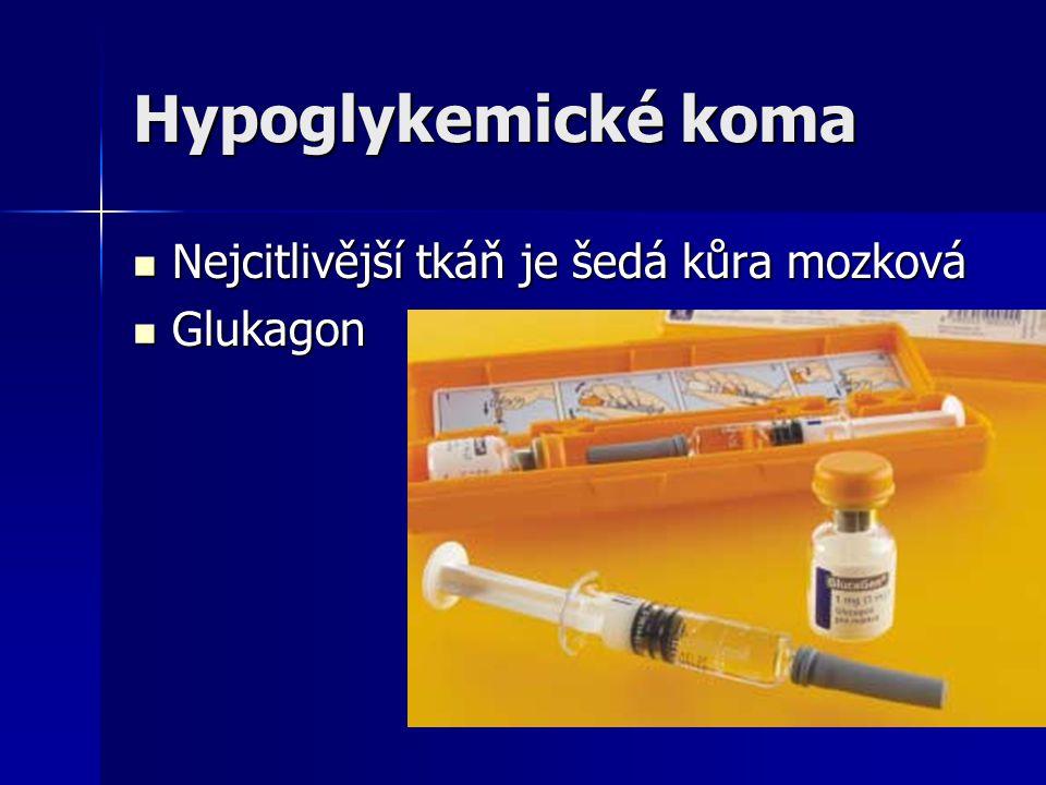 Hypoglykemické koma Nejcitlivější tkáň je šedá kůra mozková Glukagon