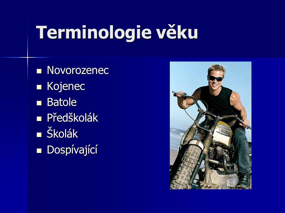 Terminologie věku Novorozenec Kojenec Batole Předškolák Školák