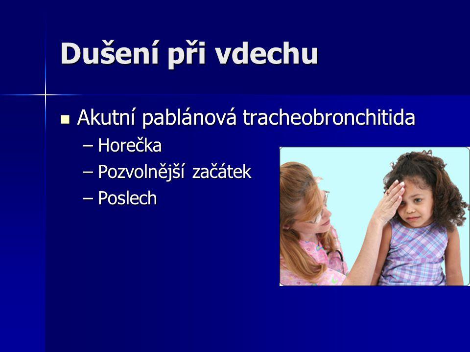 Dušení při vdechu Akutní pablánová tracheobronchitida Horečka