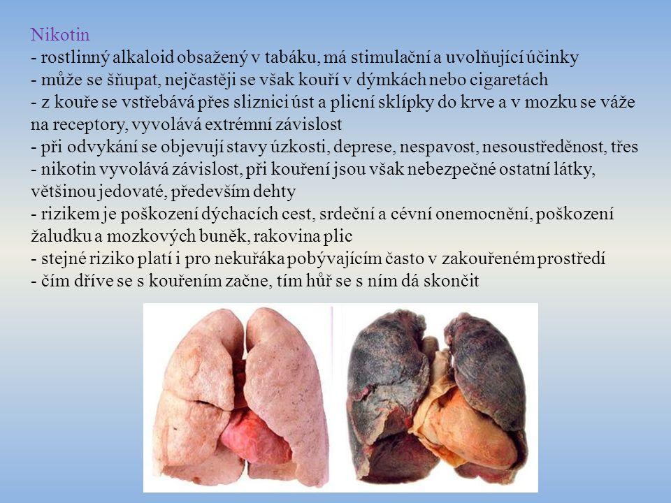Nikotin - rostlinný alkaloid obsažený v tabáku, má stimulační a uvolňující účinky.