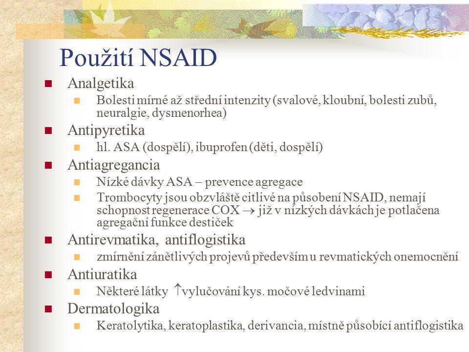 Použití NSAID Analgetika Antipyretika Antiagregancia