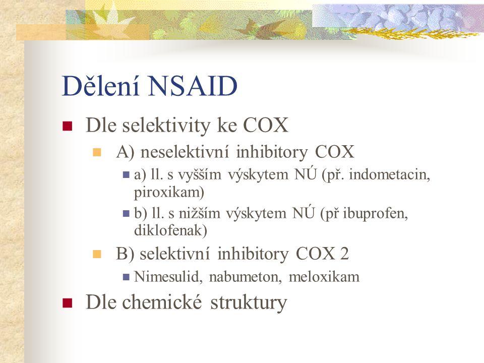 Dělení NSAID Dle selektivity ke COX Dle chemické struktury