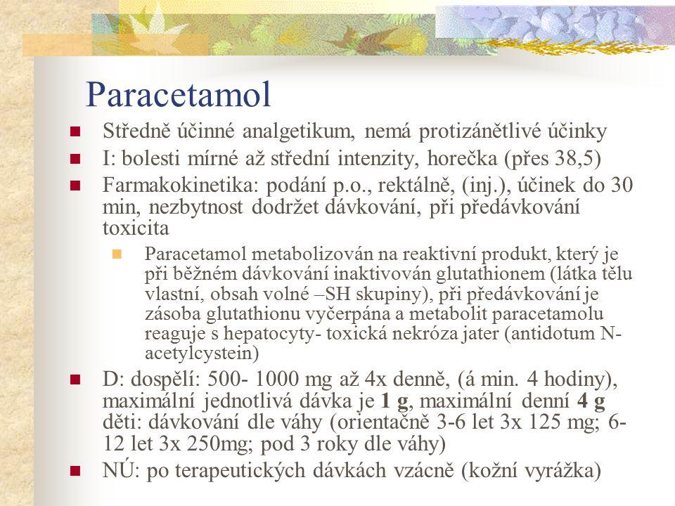 Paracetamol Středně účinné analgetikum, nemá protizánětlivé účinky