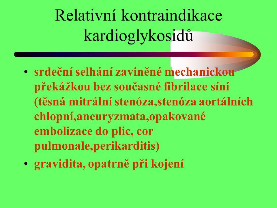 Relativní kontraindikace kardioglykosidů