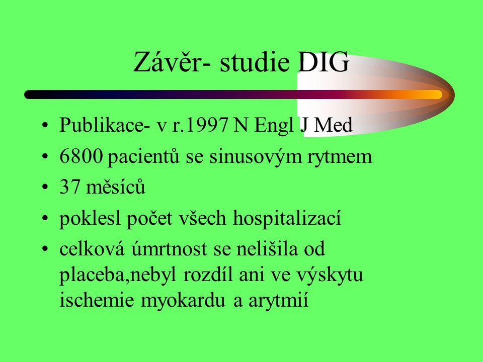 Závěr- studie DIG Publikace- v r.1997 N Engl J Med