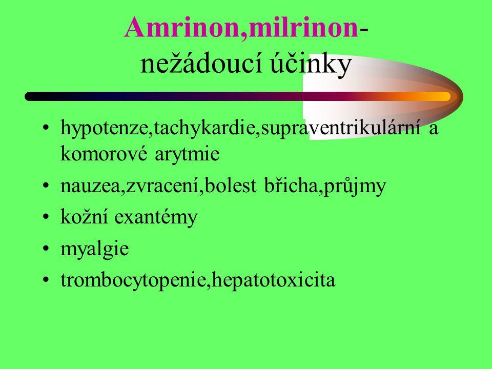 Amrinon,milrinon- nežádoucí účinky