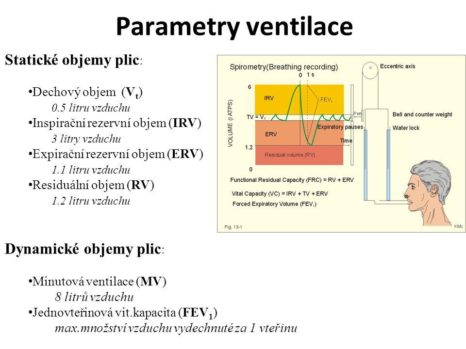 Parametry ventilace Statické objemy plic: Dynamické objemy plic: