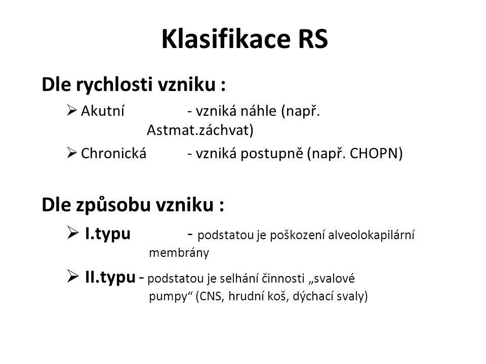 Klasifikace RS Dle rychlosti vzniku : Dle způsobu vzniku :