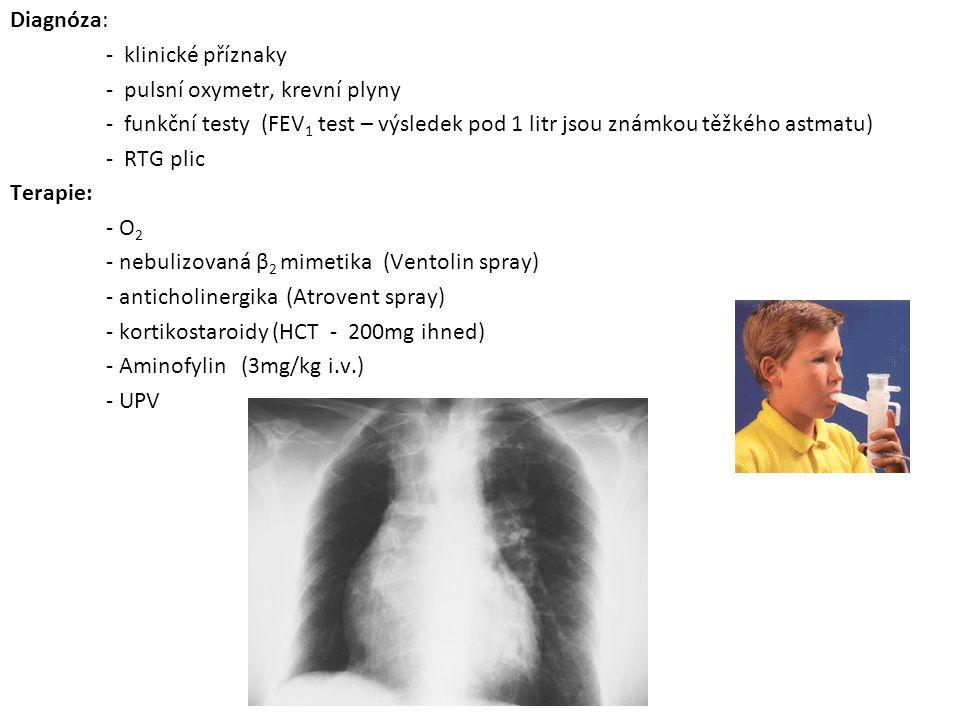 Diagnóza: - klinické příznaky - pulsní oxymetr, krevní plyny - funkční testy (FEV1 test – výsledek pod 1 litr jsou známkou těžkého astmatu) - RTG plic Terapie: - O2 - nebulizovaná β2 mimetika (Ventolin spray) - anticholinergika (Atrovent spray) - kortikostaroidy (HCT - 200mg ihned) - Aminofylin (3mg/kg i.v.) - UPV