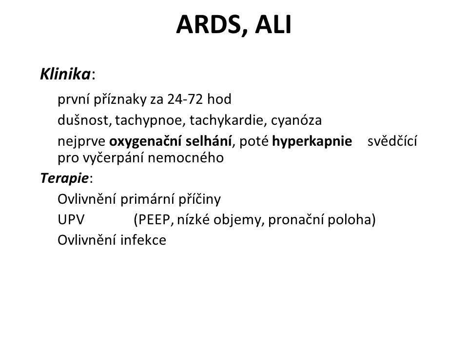 ARDS, ALI Klinika: první příznaky za 24-72 hod