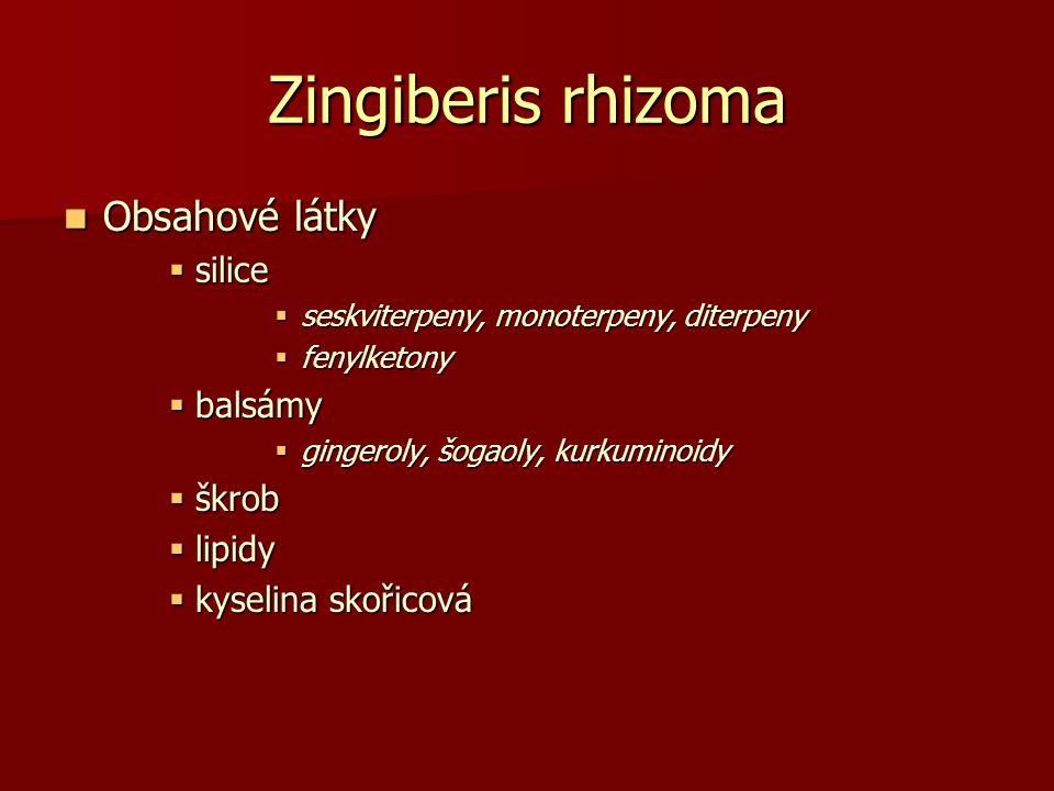 Zingiberis rhizoma Obsahové látky silice balsámy škrob lipidy