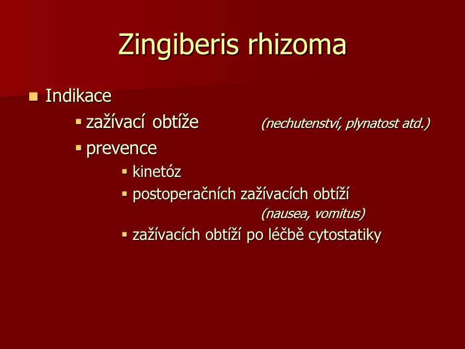 Zingiberis rhizoma Indikace