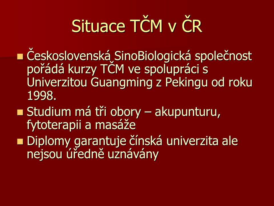Situace TČM v ČR Československá SinoBiologická společnost pořádá kurzy TČM ve spolupráci s Univerzitou Guangming z Pekingu od roku 1998.