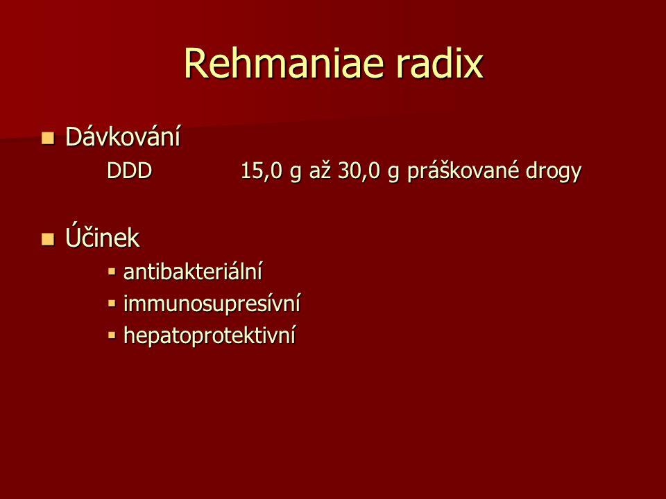 Rehmaniae radix Dávkování Účinek DDD 15,0 g až 30,0 g práškované drogy