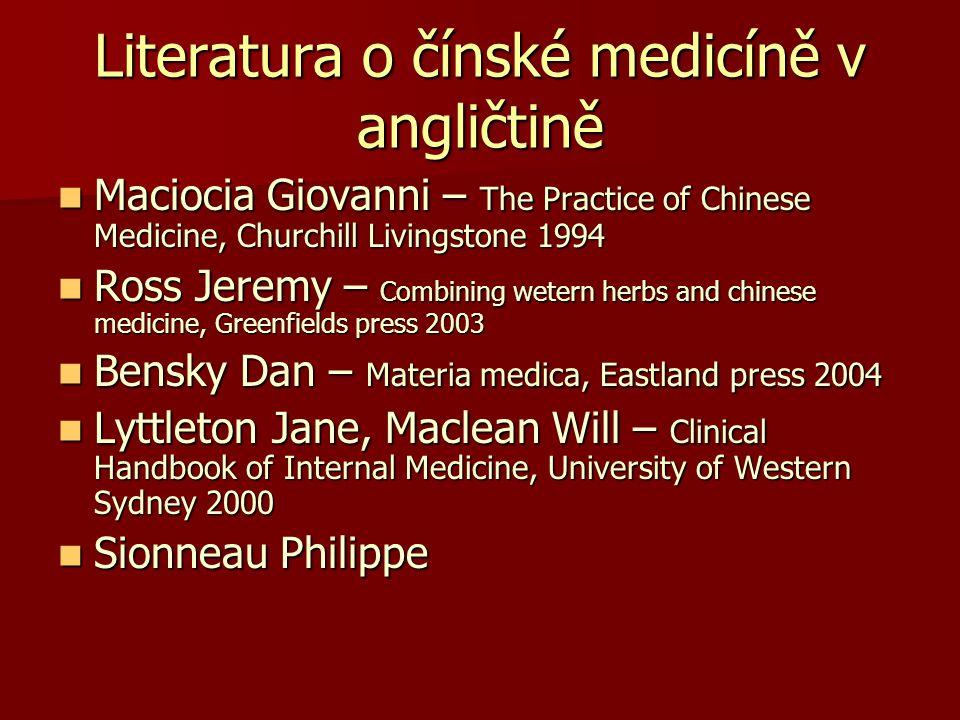 Literatura o čínské medicíně v angličtině