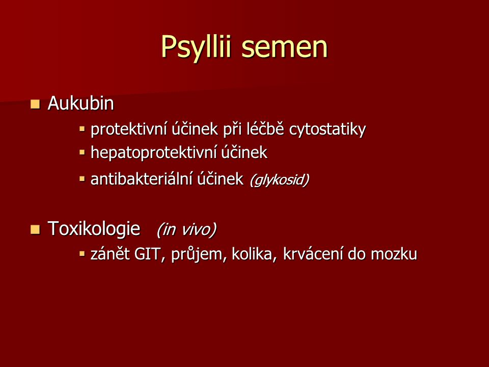 Psyllii semen Aukubin Toxikologie (in vivo)