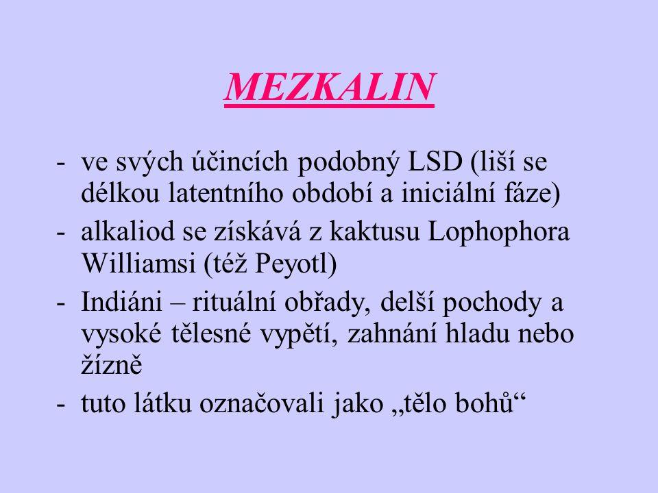 MEZKALIN ve svých účincích podobný LSD (liší se délkou latentního období a iniciální fáze)
