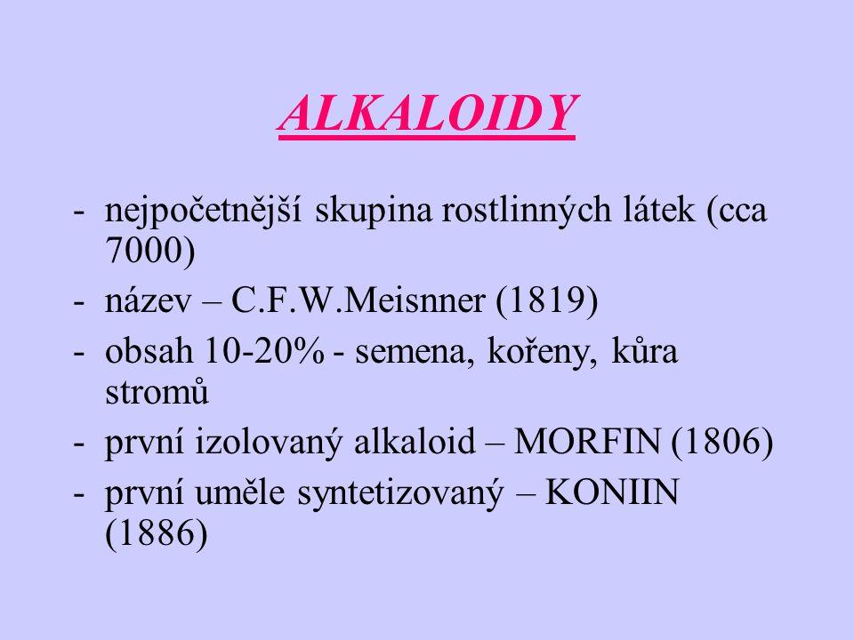 ALKALOIDY nejpočetnější skupina rostlinných látek (cca 7000)