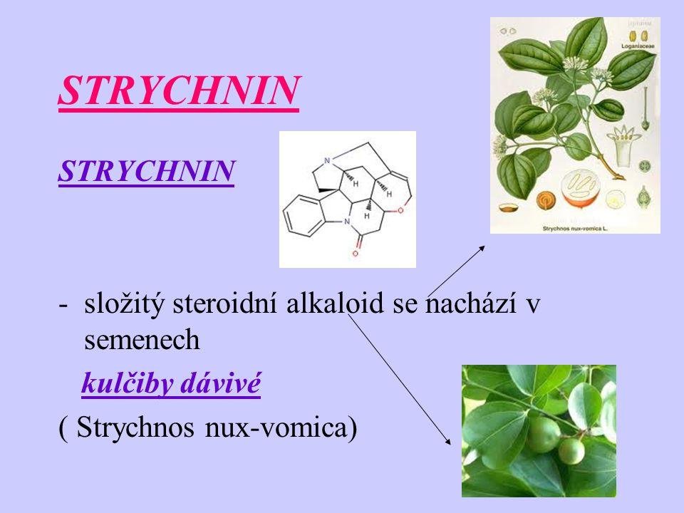 STRYCHNIN STRYCHNIN složitý steroidní alkaloid se nachází v semenech