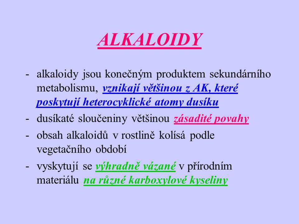 ALKALOIDY alkaloidy jsou konečným produktem sekundárního metabolismu, vznikají většinou z AK, které poskytují heterocyklické atomy dusíku.