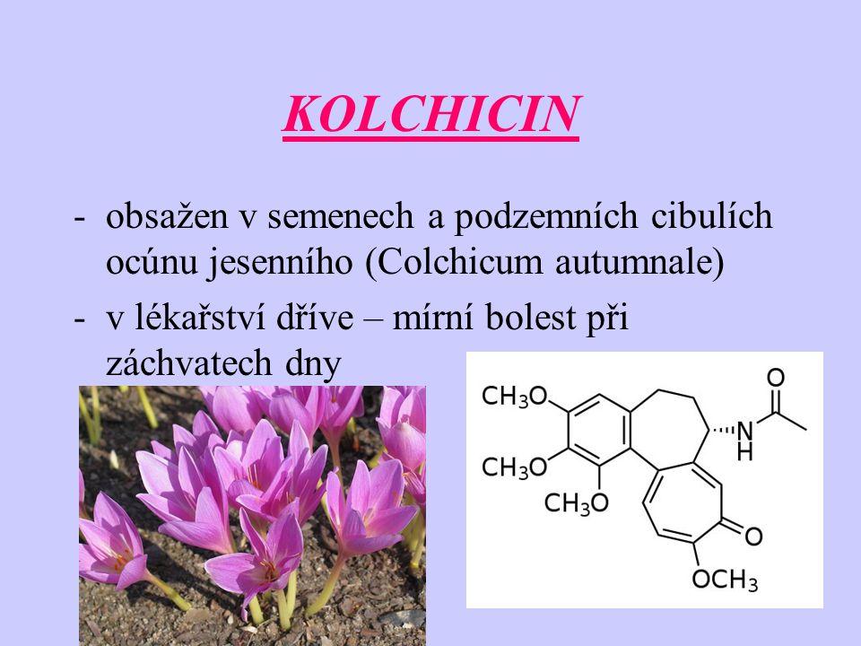 KOLCHICIN obsažen v semenech a podzemních cibulích ocúnu jesenního (Colchicum autumnale) v lékařství dříve – mírní bolest při záchvatech dny.