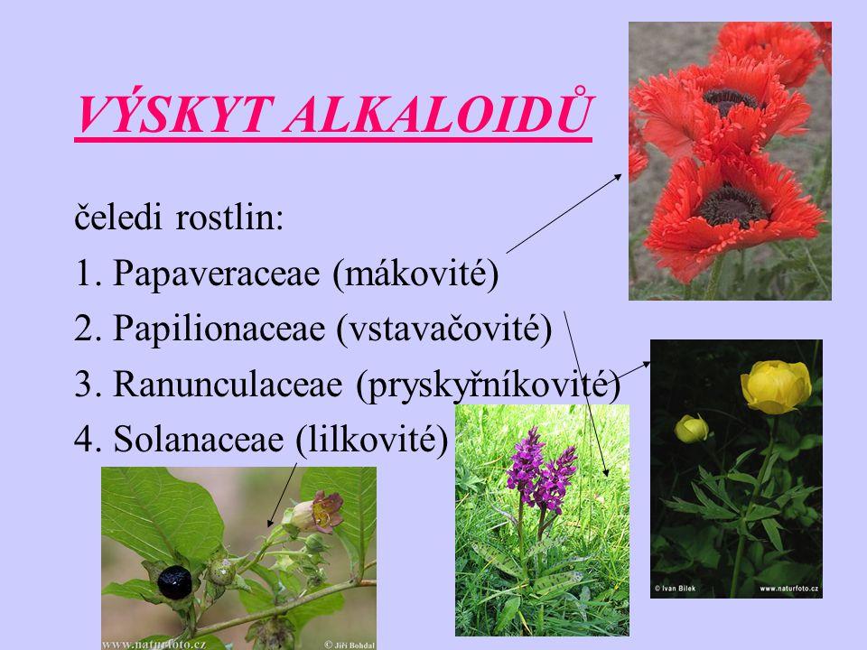VÝSKYT ALKALOIDŮ čeledi rostlin: 1. Papaveraceae (mákovité)