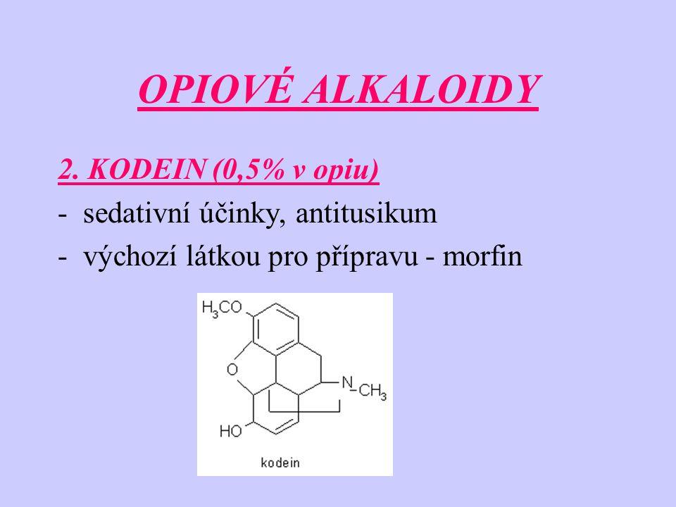 OPIOVÉ ALKALOIDY 2. KODEIN (0,5% v opiu) sedativní účinky, antitusikum