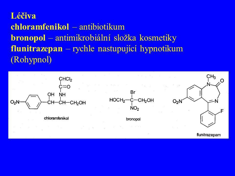 Léčiva chloramfenikol – antibiotikum. bronopol – antimikrobiální složka kosmetiky.